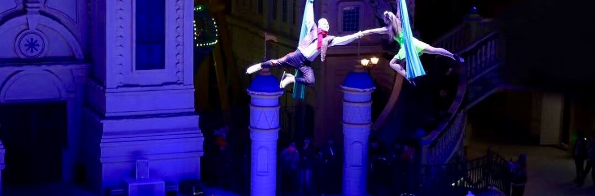 Duo aerial silk act on the ice - Circus Acts - CircusTalk