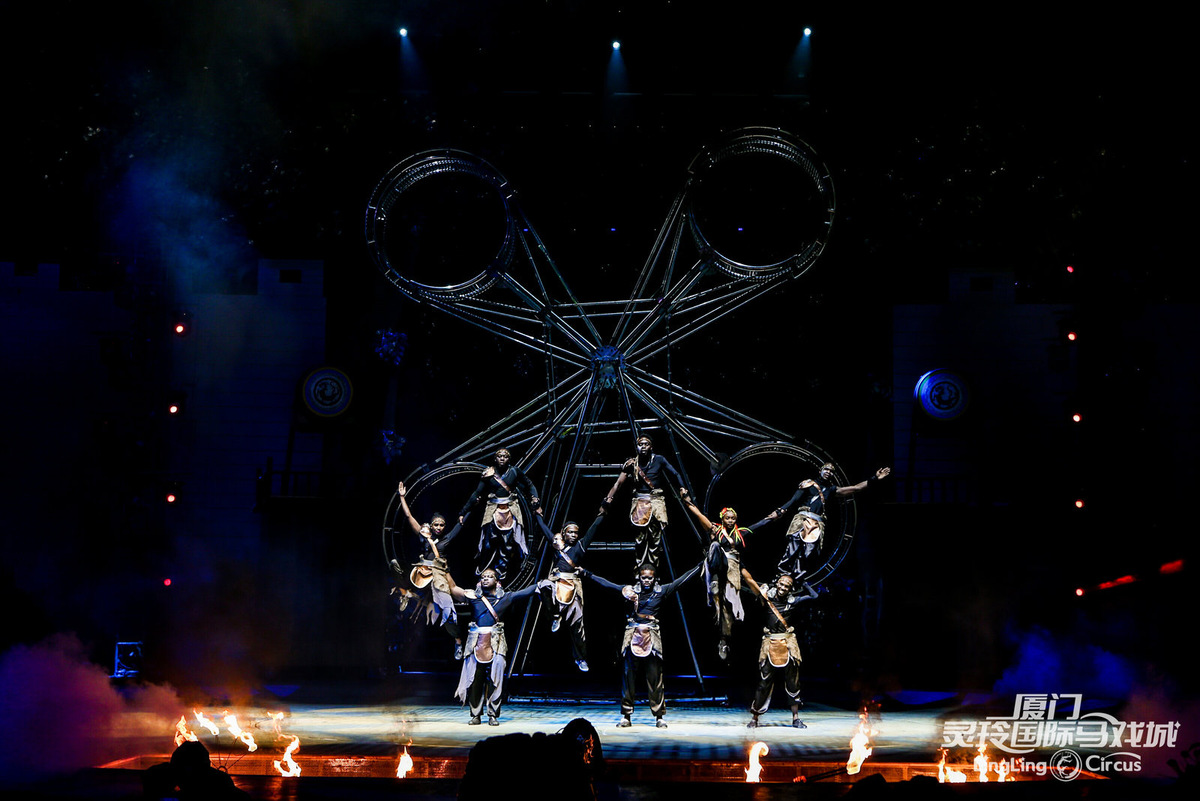 African acrobats and wheel of death
