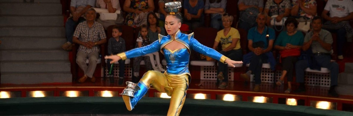 Kicking bowls to head on unicycle - Circus Acts - CircusTalk
