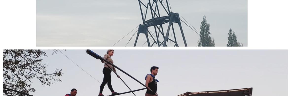 Alambre alto con pirámide y rueda de la muerte  - Circus Acts - CircusTalk